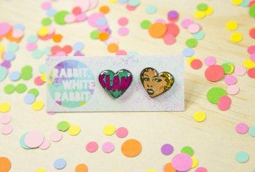 White Rabbit White comic earrings