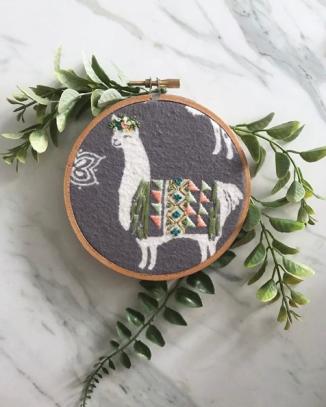 llama embroidery